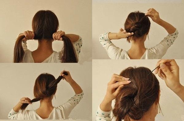 peinado moño doble nudo