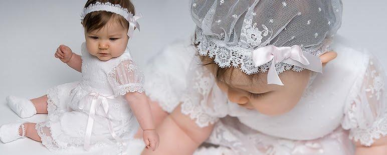 Los m s hermosos vestidos de bautizo para ni a - Diademas para bebes bautizo ...
