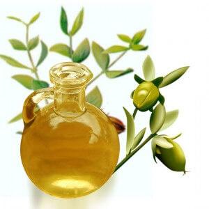La máscara para los cabellos con el aceite de ricino y las vitaminas y y e