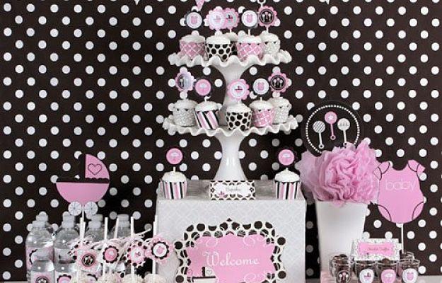 decoracion rosa y marron para baby shower niña