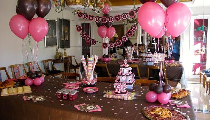 decoracion rosado y marrón para el baby shower
