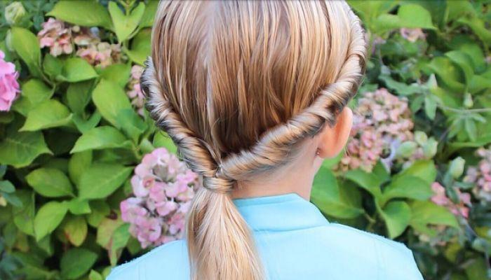 cola estilo corona baja -peinados para niñas
