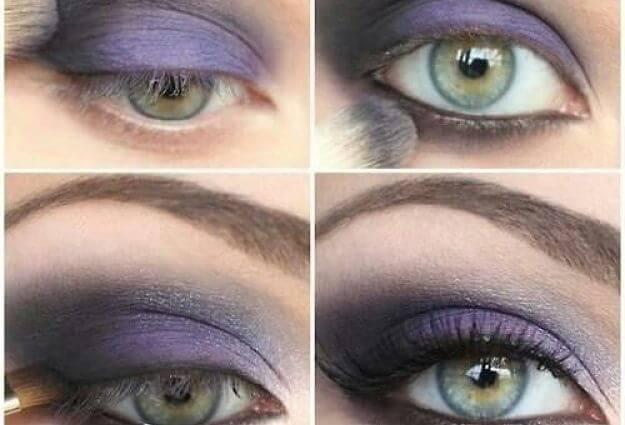 tonos lilas para maquillaje de ojos verdes
