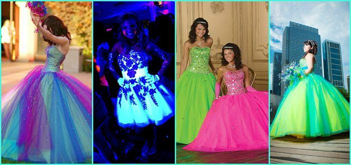 vestido neon para 15 años