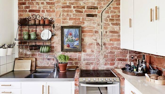 pared de ladrillos para la cocina