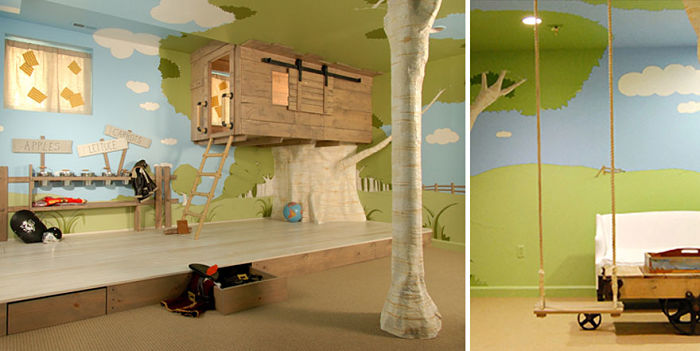 casa-arbol para habitacion infantil