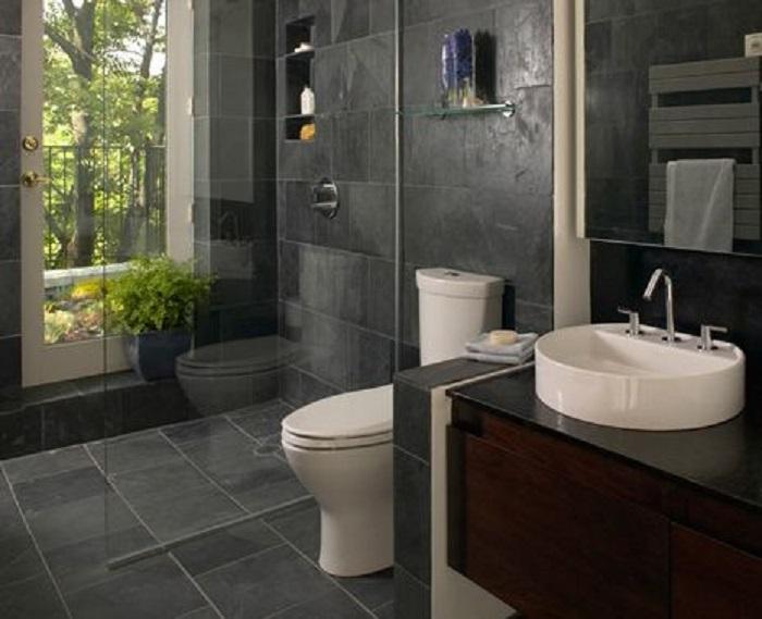 decoración de cuartos de baño oscuro