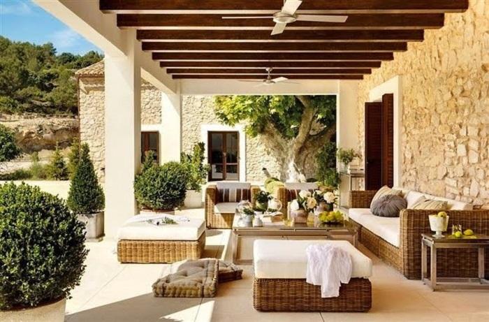 decoración de terrazas y jardines rústicos