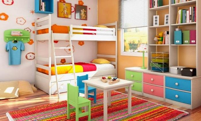 decoración de una habitación infantil de colores