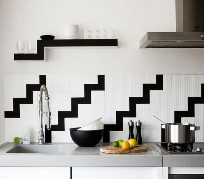 ideas para decorar la cocina blanco y negro
