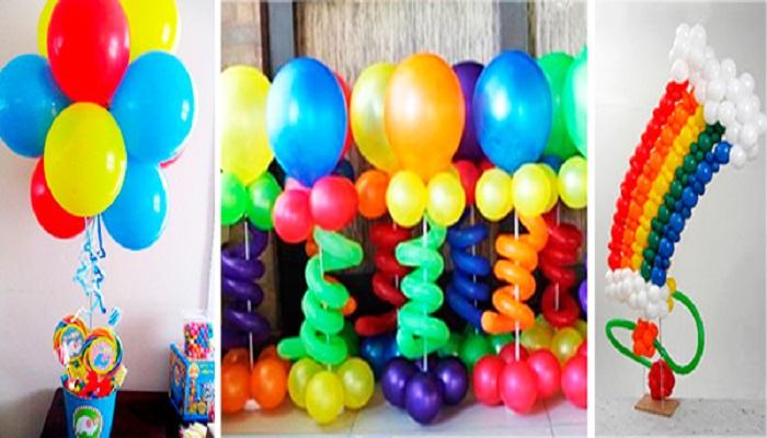 como decorar con globos con los colores del arcoiris