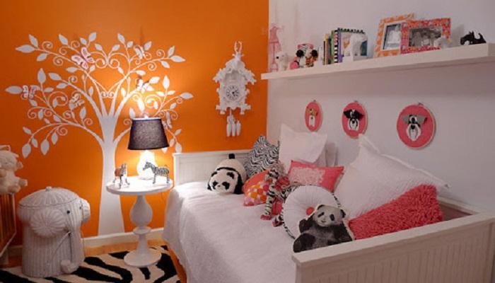 como pintar la habitación infantil color naranja