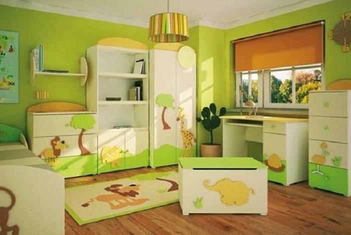 como pintar la habitación infantil de color verde