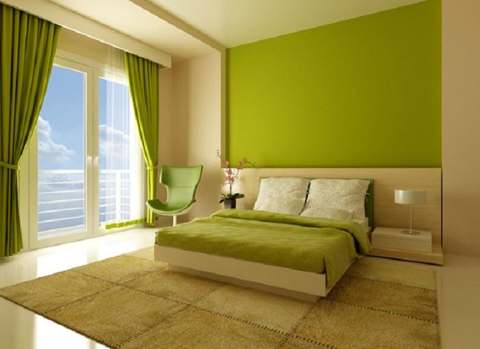 como pintar una habitación de matrimonio de colore verde