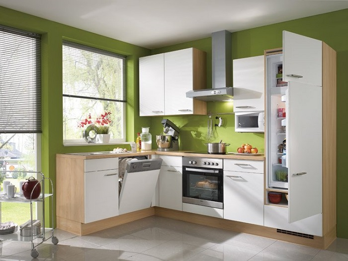 ideas de decoración de cocinas modernas pequeñas de color verde