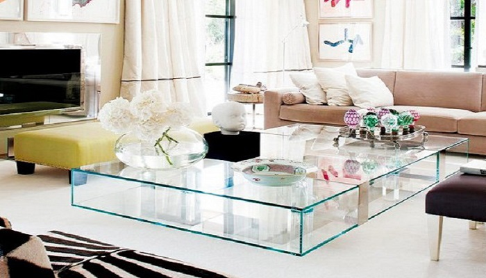 ideas de decoración para salones con mesas de cristal