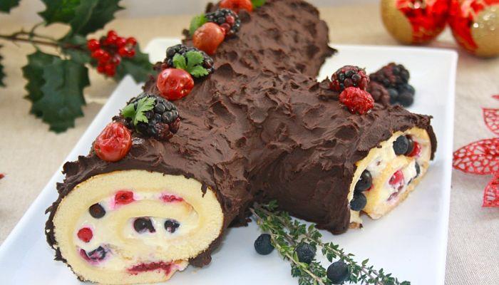 recetas de navidad enrrollado de chocolate