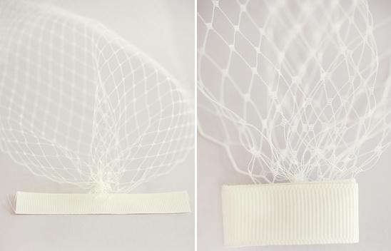 tela de red en accesorios para el cabello de novia