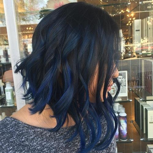 cortes de cabello bob angular azul y negro