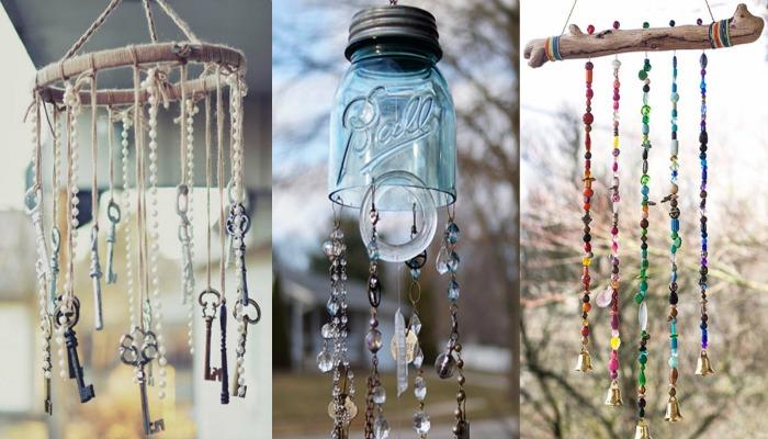 decoración shabby chic con campanas de viento