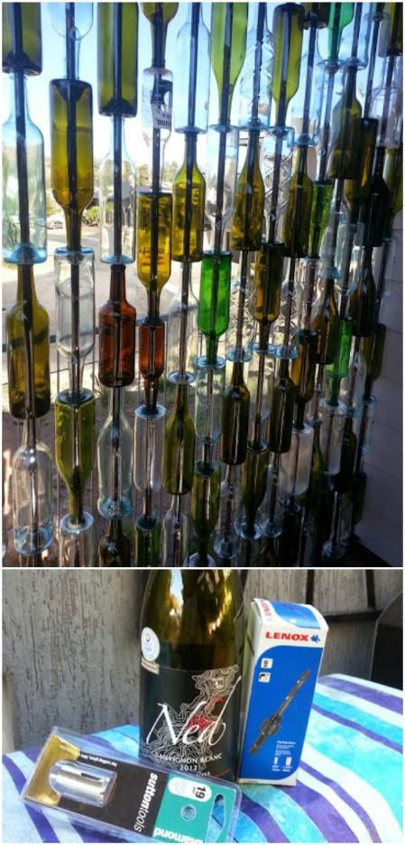decorar botellas de vino en una pared