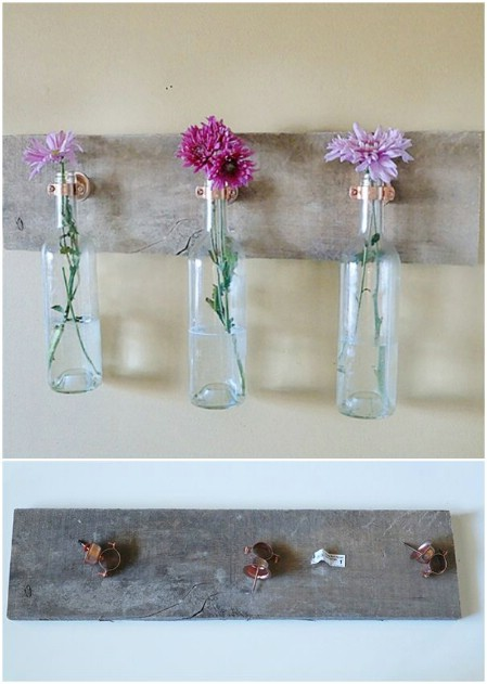 decorar botellas de vino como floreros