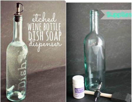 decorar botellas de vino como dispensador de jabón