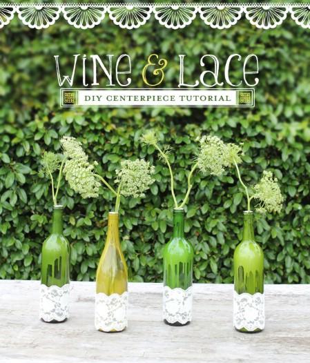 decorar botellas de vino con encaje