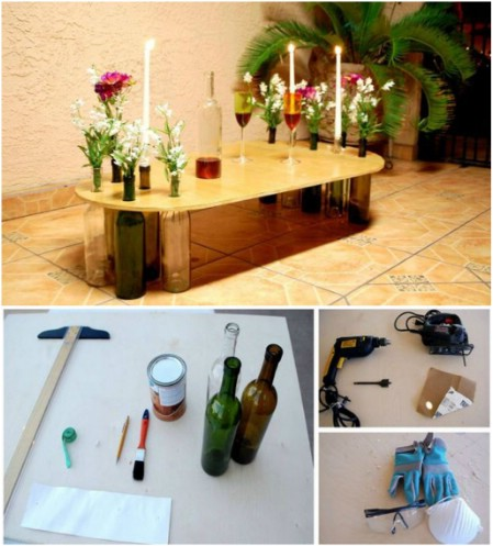 decorar mesas con botellas de vino