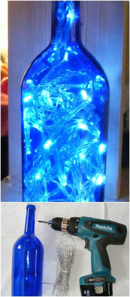 decorar botellas de vino con luces de navidad