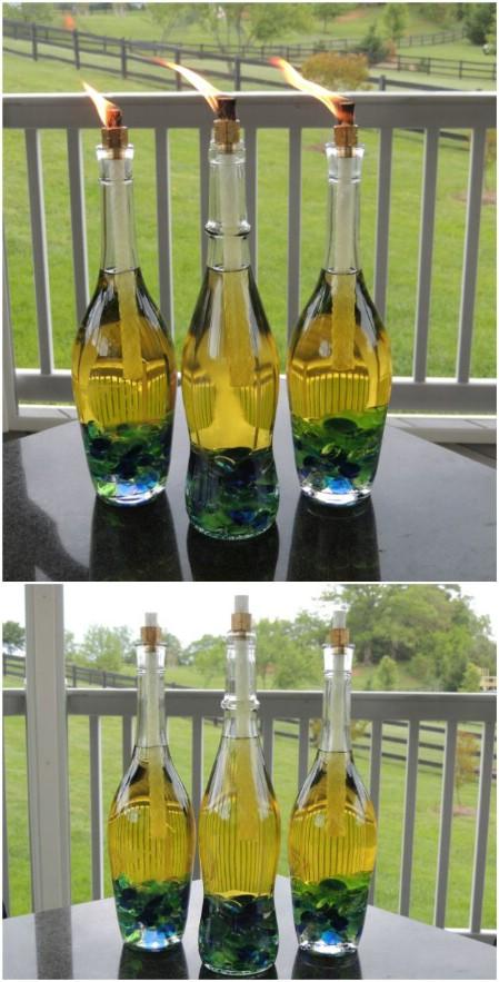 decorar botellas de vino como antorchas