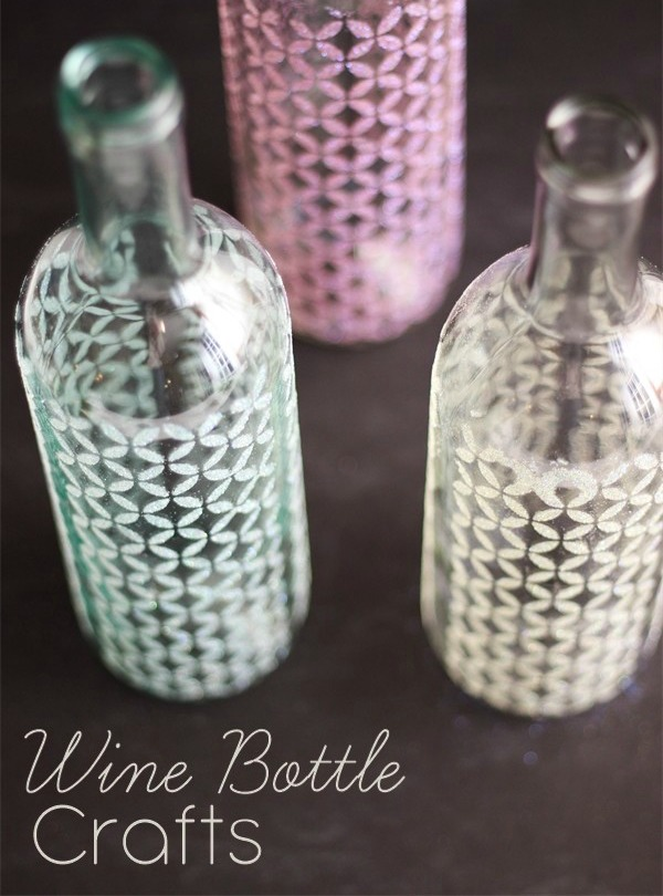 decorar botellas de vino con plantillas