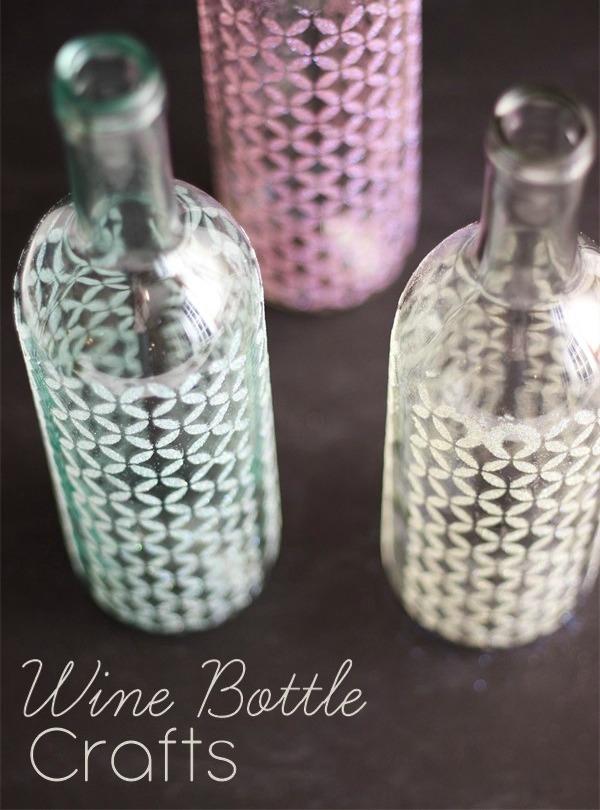 decorar botellas de vino con plantillas