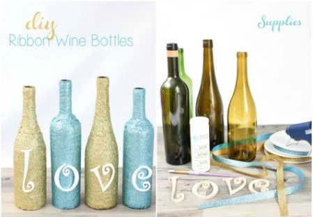 decorar botellas de vino con cintas