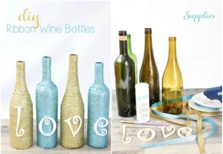 decorar botellas de vino con cintas