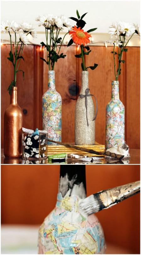 decorar botellas de vino con recortes
