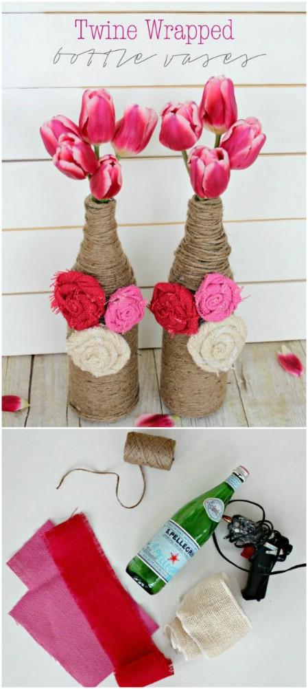 decorar botellas de vino con hilo y cuerda