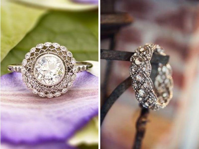 usar anillos para decorar tu boda vintage