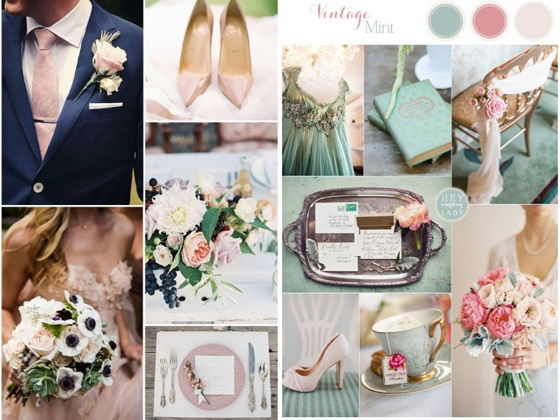 colores para decorar tu boda vintage