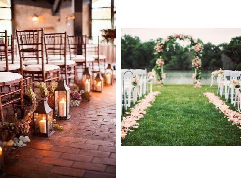 decorar pasillo para tu boda vintage