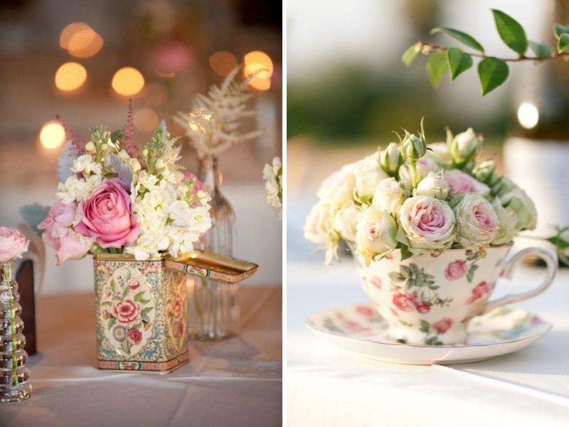 ideas de centros de mesa para boda vintage