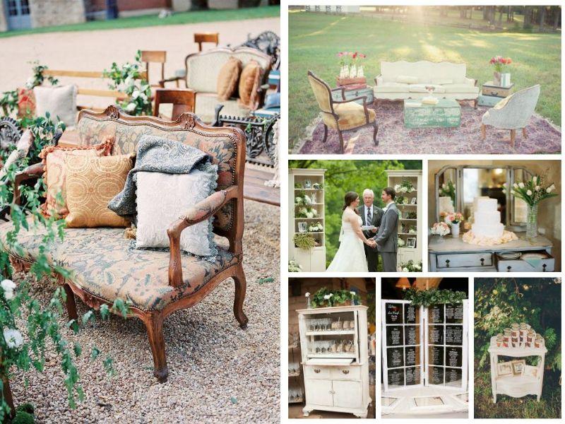 decoración vintage de muebles para bodas