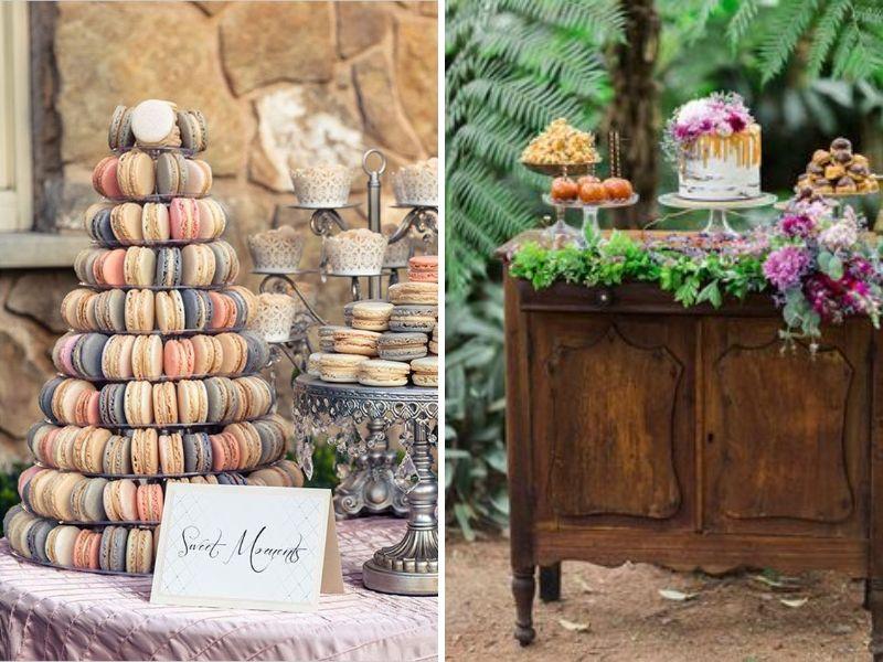 decoración vintage con comida para la boda