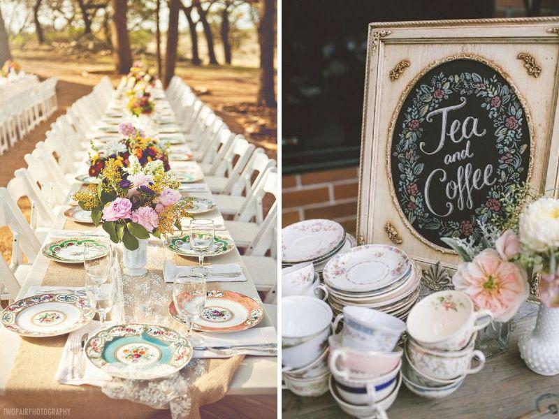 usar vajillas vintage para decorar tu boda