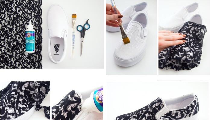 decorar zapatos viejos con encaje